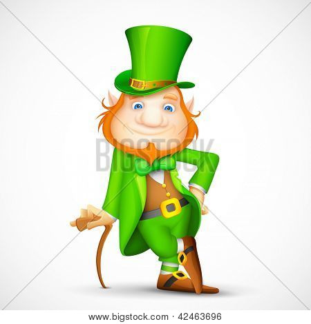 illustration of Leprechaun with walking stick for Saint Patrick's day