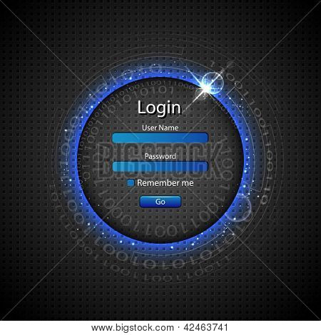 illustration of login page on technology background