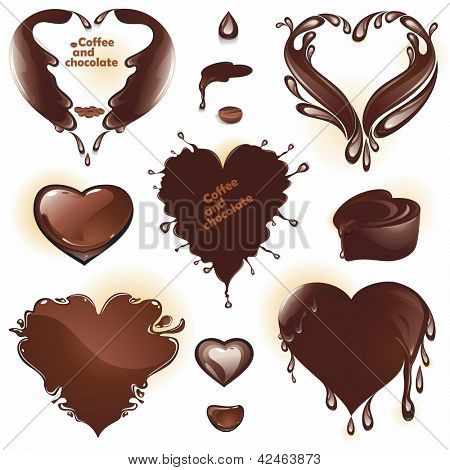 Coffee and chocolate. Drops and splashes in the shape of a heart. (vector illustration)