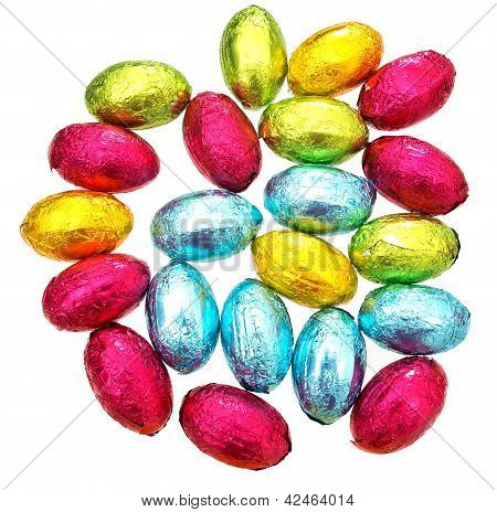 Chocolate Easter Eggs Over White Background