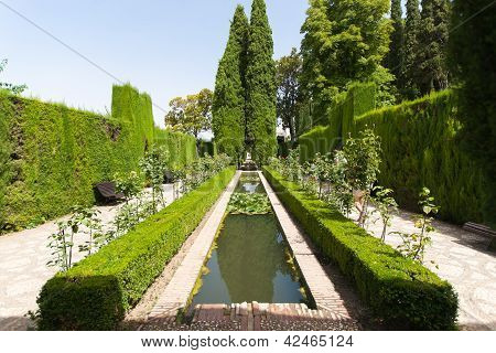 Gardens Of The Generalife Inside The Alhambra Palace Of Granada, Spain