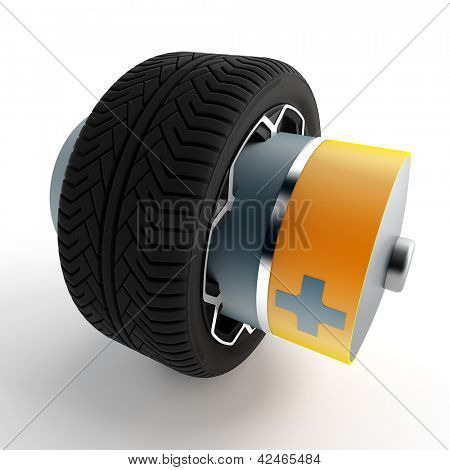 wheel of a car with an attached battery on a white background