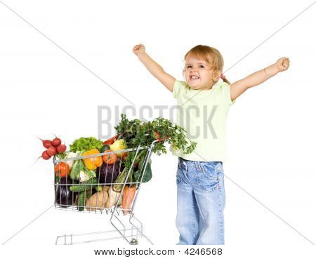 Little Girl With Healthy Food