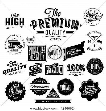 Sammlung von Premium-Qualität und Garantie-Etiketten