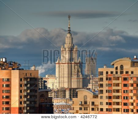 Moscow State University View On Sunset From The High Point