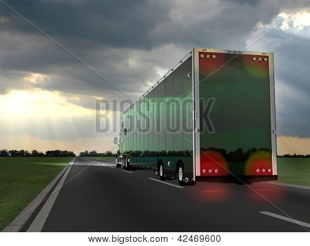 truck on blurry asphalt road over blue cloudy sky background