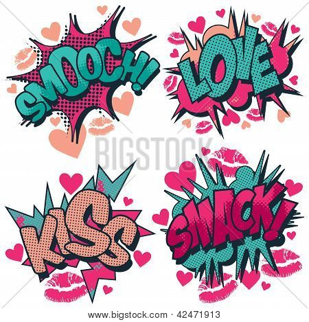 Smooch, love, kiss, smack vector comic book style graphic