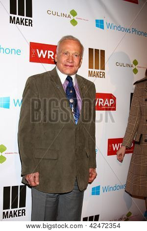 LOS ANGELES - FEB 20:  Buzz Aldrin arrives at The Wrap Pre-Oscar Event at the Culina at the Four Seasons Hotel on February 20, 2013 in Los Angeles, CA