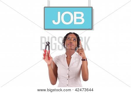 Young African American Woman Looking For A Job