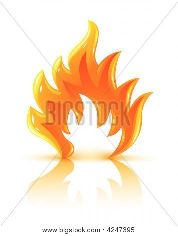 Glossy Burning Fire Flame Icon