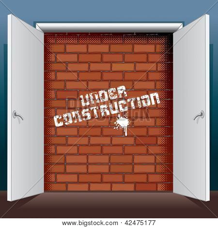 Doors Open To A Brick Wall with Inscription Under Construction. Vector Illustration