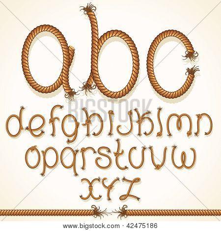 Fuente de la cuerda. Vector Set de alfabeto letras aisladas de cable trenzado.