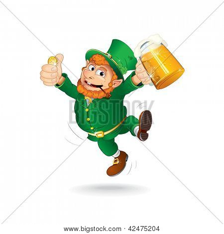 Leprechaun Celebrating Saint Patrick's Day. Jumping Leprechaun with Beer and a Golden Coin. Isolated Vector Illustration