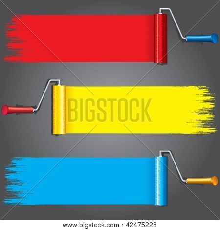 Paint Rollers with Various Paints on Wall. Vector Illustration with Free Space for Text.
