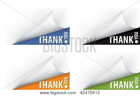 Thank you vector curled page corner set