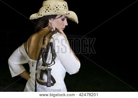 Woman Holding A Halter