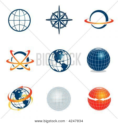 Set Of Globe Navigation Icons