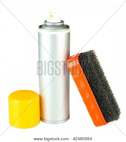 Brush for suede shoes and aerosol paint spray, isolated on white