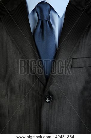 Man's suit with tie close up