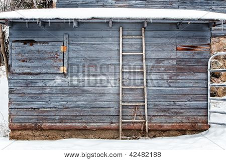 Exterior Barn In Winter Background Or Backdrop
