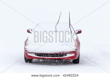 Parked Car In Winter Snowstorm