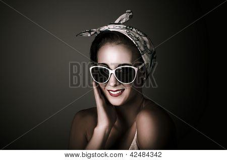 Stylish Retro Woman Wearing Fashion Sunglasses