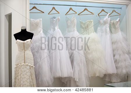 ZAGREB, CROATIA - FEBRUARY 9: Wedding dresses presented on a fashion exhibition 'Wedding expo', on February 9, 2013 in Zagreb, Croatia.