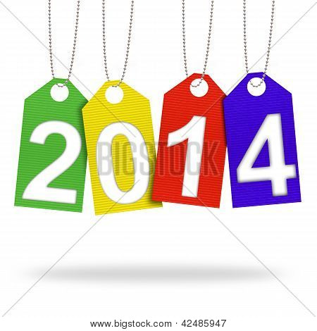 2014 With Corrugated Paper Craft On White Background