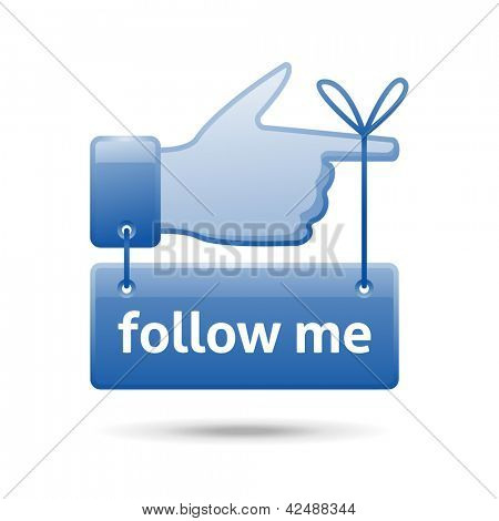 follow me sign, eps10 vector