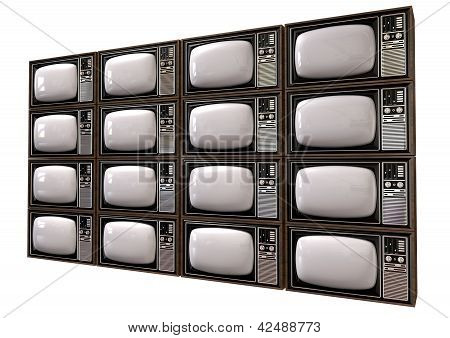 Vintage Tv Stack Isolated Perspective