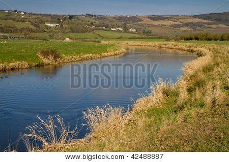 River Axe near Bleadon Somerset England