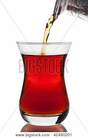 Pouring A Cup Of Turkish Tea