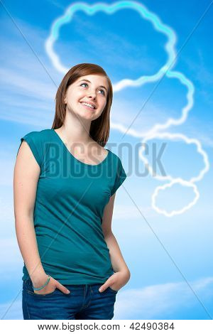 Teenager Girl With Blank Thought Bubbles