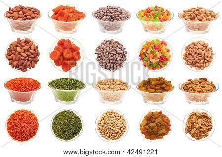Conjunto de frutos secos, frijoles y frutas secas.