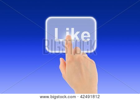 Woman hand uses like button