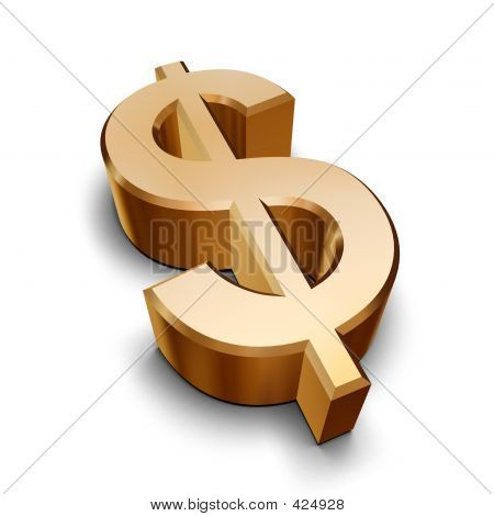 3D golden Dollarsymbol