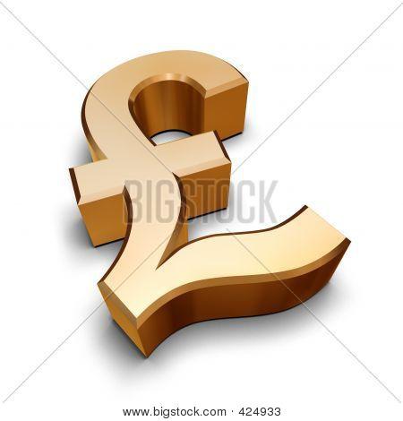 3D oro símbolo de libra