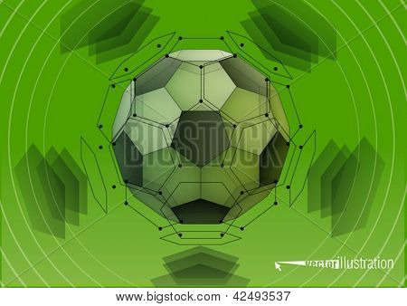 Soccer-ball. Transparent truncated icosahedron
