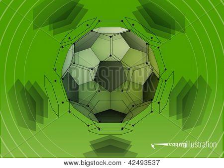 Soccer-ball. Transparent truncated icosahedron