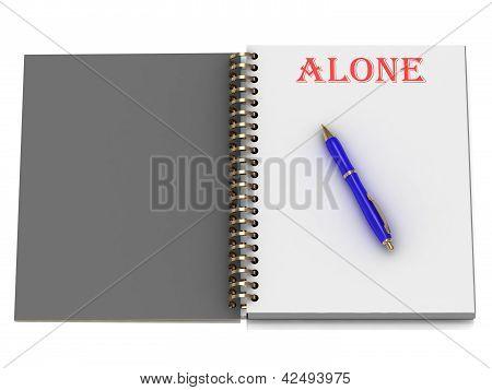 allein Wort auf Notebook-Seite