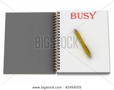 Busy Word On Notebook Page