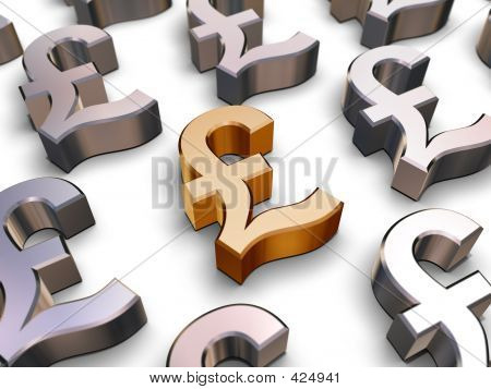 3-d Sterling Pfund Symbole