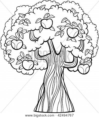 Apple Tree Cartoon For Coloring Book