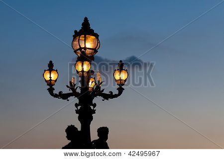 Streetlamp In The Bridge Alexander Iii, Paris, Ile De France, France