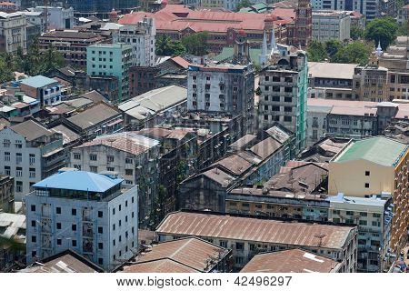 Rangoon downtown. Bird's eye view. Yangon. Myanmar.
