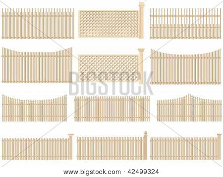 Wooden Fence With Volume And Shadows.