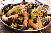 stock photo of valencia-orange  - seafood paella - JPG