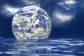image of geosphere  - The earth floating in an ocean to symbolize the melting of the polar ice caps - JPG