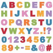 pic of symbol punctuation  - stitched alphabet shapes with letters numbers and punctuation isolated on white - JPG
