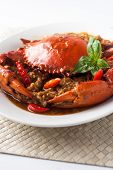 picture of exoskeleton  - chili crab Asia cuisine spicy seafood with spices